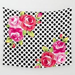 Roses on black dots Wall Tapestry