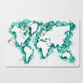 Watercolor splatters world map in teal Cutting Board