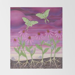 echinacea daydream with luna moths and snails Throw Blanket