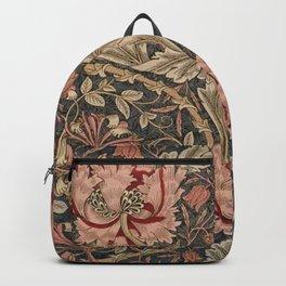 William Morris Honeysuckle Tuscany Italian Textile Floral Pattern Backpack