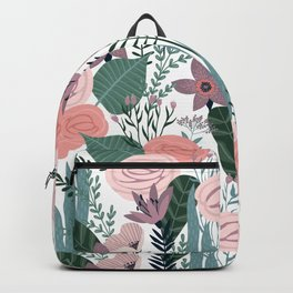 Lovely Midcentury Vintage Wild Rose Pattern Backpack