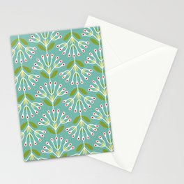 Retro Lifestyle pattern: bow flower mint Stationery Cards