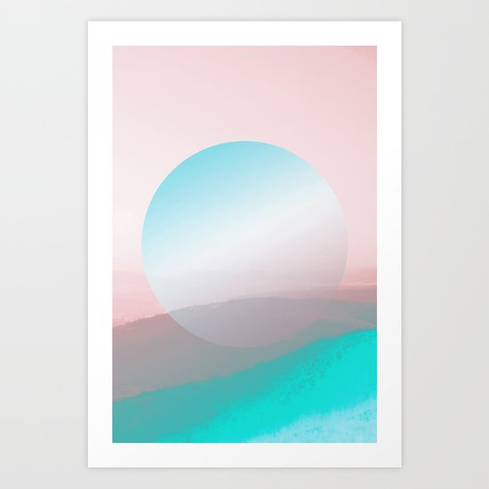 Modern Abstract Pink Blue Art Print
