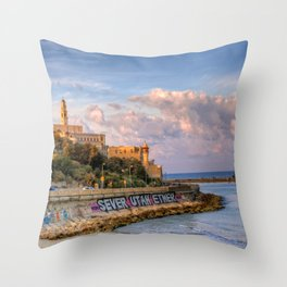 Graffiti on the old city wall of Jaffa, Israel Throw Pillow