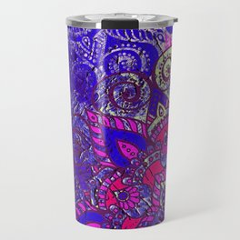 -A15- Colored Moroccan Mandala Artwork. Travel Mug