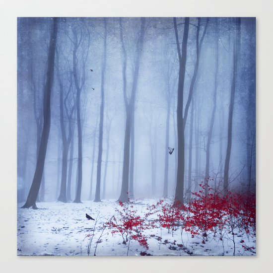 winter forest with birds Canvas Print
