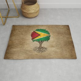 Vintage Tree of Life with Flag of Guyana Rug