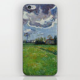 Meadow With Flowers Under a Stormy Sky iPhone Skin