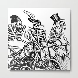 Calavera Cyclists | Black and White Metal Print