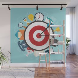Wall clock funny Wall Mural
