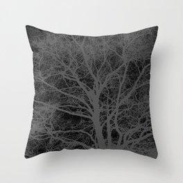 Black and white tree silhouette Throw Pillow