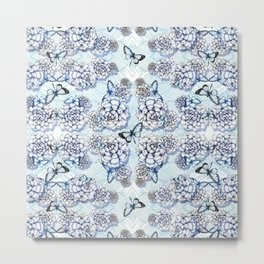 Succulent Motif and Butterfly # Cerulean Blue Metal Print