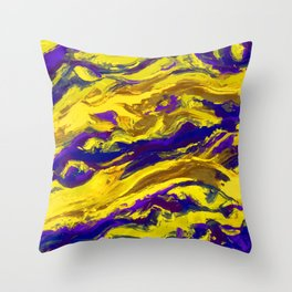 OIL ABSTRACT PAINTING - PLAY OF YELLOW AND BLUE Throw Pillow