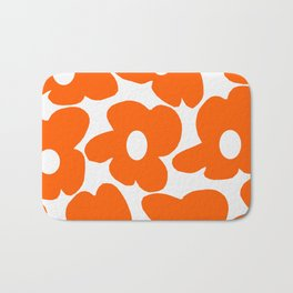 Orange Retro Flowers White Background #decor #society6 #buyart Bath Mat