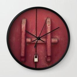 Locked red door Wall Clock