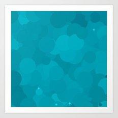 Peacock Blue Bubble Dot Color Accent Art Print