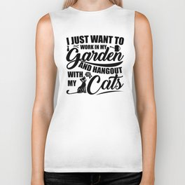 Work In My Garden With My Cats Biker Tank