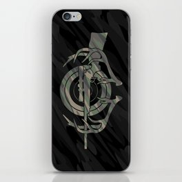Camouflage Hunting and Shooting Sports Logo with Rifle, Buck Horns and Target iPhone Skin