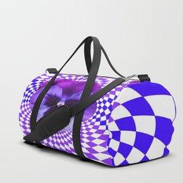 OPTICAL LILAC  PURPLE PANSIES GEOMETRIC ART Duffle Bag