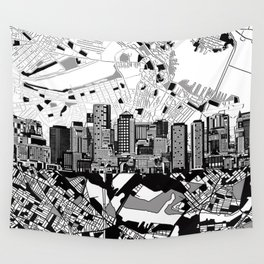 boston city skyline black and white Wall Tapestry