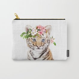 Tiger Cub with Flower Crown Carry-All Pouch