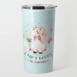Magical pink teal watercolor rainbow unicorn typography Travel Mug