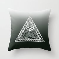 evil eye Throw Pillows featuring Evil Eye by Emmy