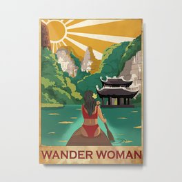Yacht Beach Sea Poster Wander Woman Metal Print