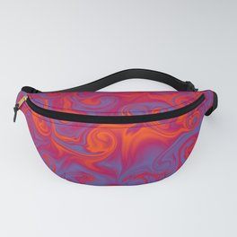 SIREN deep coral and periwinkle abstract flames Fanny Pack