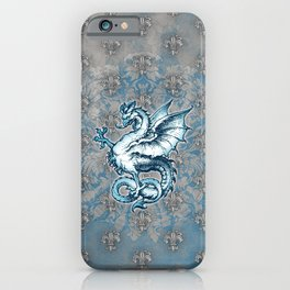 Noble House STEEL BLUE / Grungy heraldry design iPhone Case