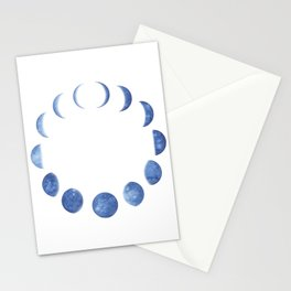 Blue Moon Phases | Watercolor Painting Stationery Cards