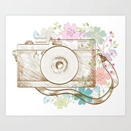 Camera retro flower Art Print
