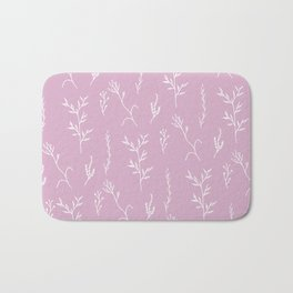 Modern spring pink lavender floral twigs hand drawn pattern Bath Mat