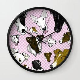 Smooth Fox Terrier Pink Plaids Wall Clock
