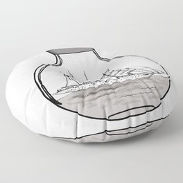 the ship in the bulb . illustration . Floor Pillow