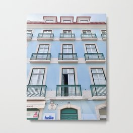 Pastel Blue Apartments in Portugal Metal Print