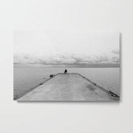 Fisherman on the pier Metal Print