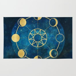 Gold Moon Phases Sun Stars Night Sky Navy Blue Rug