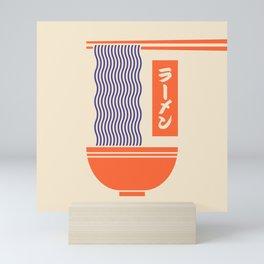 Ramen Japanese Food Noodle Bowl Chopsticks - Cream Mini Art Print