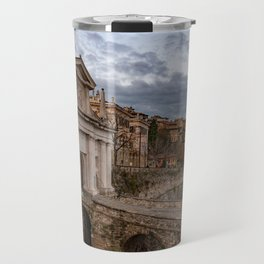 Side view of Porta San Giacomo and the walls of the upper city of Bergamo Travel Mug