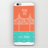 "oakland iPhone & iPod Skins featuring ""How's Oakland"" Missing You Card by Michelle Rial"