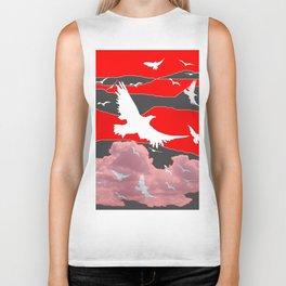 WHITE BIRDS IN FLIGHT RED-GREY SKY ABSTRACT Biker Tank