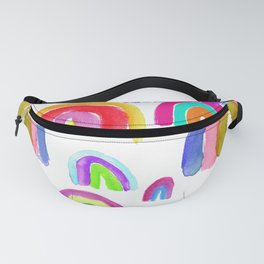 Vivid Watercolor Rainbows in White Fanny Pack