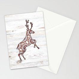 Rustic Woodgrain Folk Art Christmas Winter Nordic Reindeer Stationery Cards