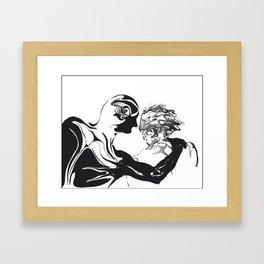 Secret 1.Black on white background. Framed Art Print