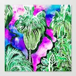 Space Tropic | Modern green tropical palm tree forest photography illustration nebula color block Canvas Print