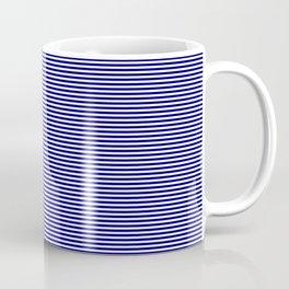 Classic Navy Blue and White Horizontal Pin Stripes Coffee Mug