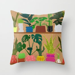 Plants on the Shelf in Warm Wood Throw Pillow