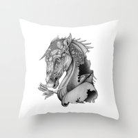 knight Throw Pillows featuring The King's Lost Knight by Caitlin Hackett