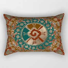 Hunab Ku Gold Red and Teal Rectangular Pillow